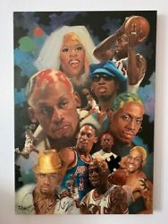 Original Oil Sport Painting of Hall of Famer Dennis Rodman by Frank Scicchitano