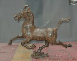 Chinese China Antique Bronze Success Animal Horse Oracle Text Feng Shui Statue