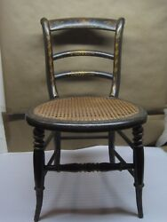 Antique 19th Century Chair Child/doll Chair Hand Painted Cane Seat All Original