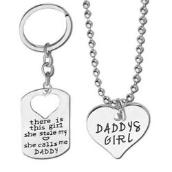 Daddy's Girl Daughter Necklace Fathers Day Gift for Dad Silver Key Ring Keychain $14.99