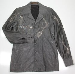 BILL WHITTEN Custom 1970's Silver Gray Western Rhinestone Disco Stage Shirt SM