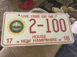 Nh House Of Representative License Plate New Hampshire  2-100 2017-18