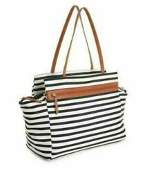 New DSW Weekend Overnighter Tote Bag Black White Striped