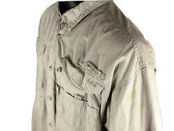 Mens Columbia PFG Rear Vented Casual Fishing Shirt Size 2XL Beige