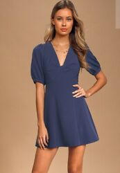 Lulu's NEW Puff Sleeve Mini Blue Dress Beach❣️SMALL IN STOCK. $40.00