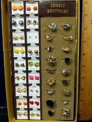 Nos Vintage Lovely Costume Jewelry/ring Earrings Stock Retail Counter Display
