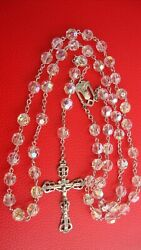 Antique Vintage Italy Otc Sterling Rosary Cut Crystal Beads 53.1 Grams 30''