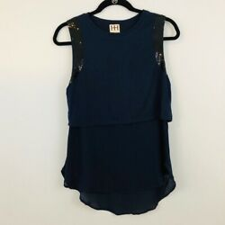 Haute Hippie Navy Layered Tank Top Blouse with Sequin Sleeve
