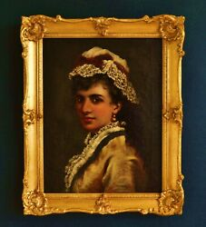 A Very Fine British School Portrait Of A Young Beauty Circa 1880 Oil On Canvas
