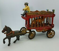 Overland Circus Vintage 4-pc Cast Iron Horse-drawn Wagon Tiger And Driver Jm109