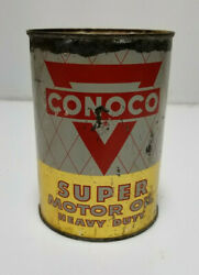 Vintage Conoco Oil Can Metal Sealed New 1qt