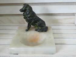 Solid Bronze Collie Dog Siting On A Marble Base dresser valet