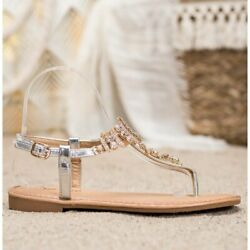 Small Swan Stylish Sandals With Cubic Zirconia grey