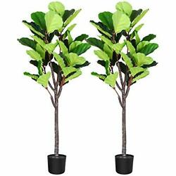 Fopamtri Artificial Fiddle Leaf Fig Tree 5.3 Feet Fake Ficus Lyrata Plant with