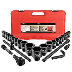 26pcs 3/4 And 1 Drive Sockets Set Metric 6-point Jumbo Ratchet Wrench Extension