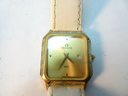 Milus Swiss Quartz Mineral Glass Square Date Watch With White Band Runs