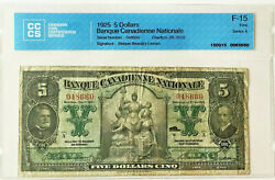 1925 5 Dollars Banque Canadienne Nationale Series A - F15 5698