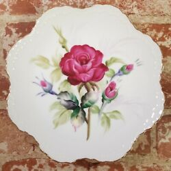 Lefton Hand Painted Roses Collectors Plate Gold Rim Scalloped Edge Hanging 6926