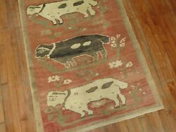 Vintage Turkish Oushak Konya Lamb Rug Size 3and0395and039and039x6and0393and039and039