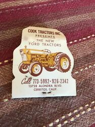 Allis Chalmers Cook Ford Tractors ,cerritos California Used Matchbook.very Rare