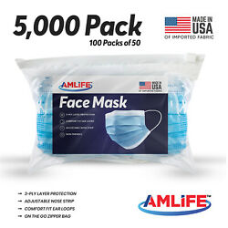 Amlife 5000 Pack Disposable Face Masks Made In Usa Import Fabric Wholesale Lot