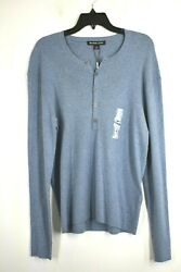 Mens Ribbed Cotton Cashmere Blend Henley Sweater Blue Nwt 198 M