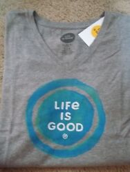 Life Is Good Watercolor Coin S/s V-neck T-shirtclassic Fitnewsize L