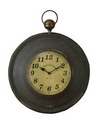 Large Pocket Watch Wall Clock Rustic Antique Style Metal By Park Designs Black