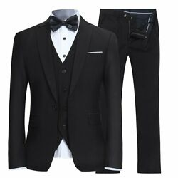 Yffushi Menand039s Slim Fit 3 Piece Suit One Button Business Wedding Prom Suits Blaze