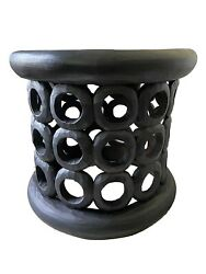 Superb Old African Bamileke Wood Stool/table 17 H By 18.75 D Cameroon