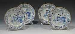 A Set Of Four Antique Chinese Porcelain Blue And White Dishes