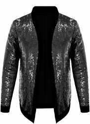 Pacinoble Mens Cardigan All Over Sparkle Sequin Open Front Long Sleeve Jacket Wi