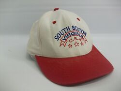 South Boston Virginia USA Hat Red Beige Stained Strapback Baseball Cap