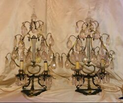 Antique Pair Crystal And Bronze Table Lamps . Girondelles 19th Century Louis Xv