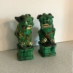 Amazing Pair Of Antique Vintage Chinese Foo Dog Figurines - Great Details