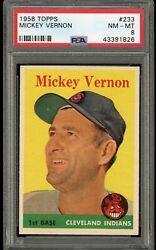 1958 Topps 233 Mickey Vernon - Psa Nm-mt 8 - Cleveland Indians