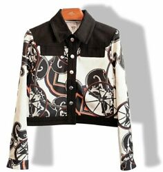 Hermes Womenand039s B/w Outdoor Silk And Black Cotton Jeans Short Jacket Sz40 Nwt