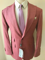 Rose Pink Luxury Super 180 Tombolini 2 Button Wool Suit With Wide Peak Lapel
