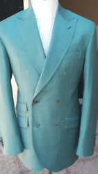 Teal Green Luxury Super 180 Tombolini Db Wool Suit With Wide Peak Lapel