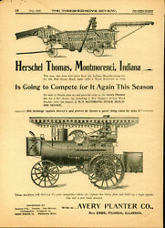 1898 Avery Planter Co. Ad Yellow Fellow Thresher And Steam Tractor - Peoria, Il