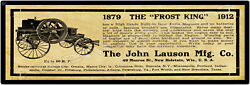 1912 John Lauson Co. Metal Sign Frost King Gas Engine - New Holstein Wisconsin