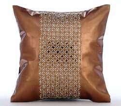 16x16 Handmade Throw Pillow Cover Faux Leather Copper Brown - Copper Gate