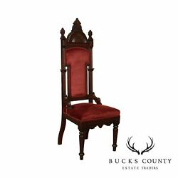 Gothic Revival Antique American Walnut High Back Hall Chair