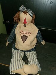 Honey And Me Primitive Raggedy Anne Barefoot And Pregnant Maternity Doll