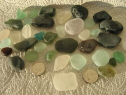 Guernsey English Channel Beach Seaglass Sea Glass Mixed Colors Greens 38 Pcs Lot