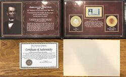 American Historic Society Abraham Lincoln Steel Penny Wheat Penny And Stamp Set