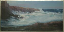 Vintage Winifred W Compton And039crashing Wavesand039 Monhegan Or Cape Ann Oil Painting