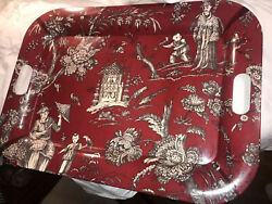 Vintage Serving Tray Melamine Italy 23.5andrdquo X 17andrdquo Oriental Dynasty Red