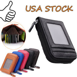 Men Wallet Leather Credit Card Holder ID Womens RFID Blocking Zipper Thin Pocket $9.49