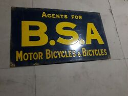 Porcelain Bsa Bicycles Enamel Sign Size 14 X 24 Inches